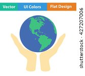 hands holding planet icon. flat ...