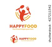 happy food logo  people with... | Shutterstock .eps vector #427211542