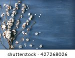 Stock photo blooming branch of tree on blue wooden background 427268026