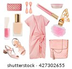 Stock photo coral soft pink salmon color dress clothes and accessories collage set isolated on white 427302655