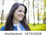 young brunette wearing summer... | Shutterstock . vector #427314328