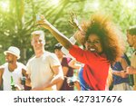 multiracial young people... | Shutterstock . vector #427317676