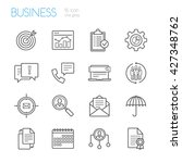 bussines gray line icons set of ... | Shutterstock .eps vector #427348762