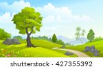 green forest in spring time | Shutterstock .eps vector #427355392