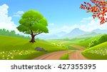 a beautiful green tree along a...   Shutterstock .eps vector #427355395