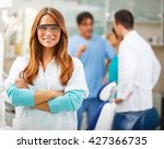 young female dentist standing... | Shutterstock . vector #427366735