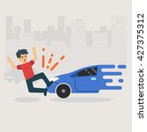 unlucky man get accident by car ... | Shutterstock .eps vector #427375312