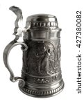 Small photo of Pewter beer tankard isolated on a white background
