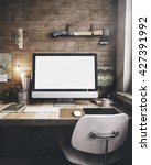 3d render of workspace mockup | Shutterstock . vector #427391992
