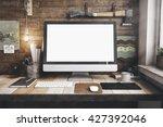 3d render of workspace mockup | Shutterstock . vector #427392046
