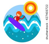 vector  flat icon with surfer  | Shutterstock .eps vector #427403722