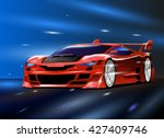 the red sport car. the fast... | Shutterstock .eps vector #427409746