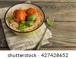spaghetti and meatballs with... | Shutterstock . vector #427428652