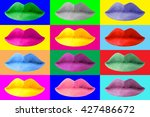 colorful pop art fashion lips... | Shutterstock . vector #427486672