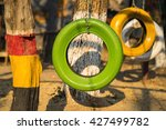Color Old Car Tire Hanging On...