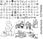 family set of black sketch.... | Shutterstock .eps vector #42750406