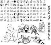family set of black sketch.... | Shutterstock .eps vector #42750406