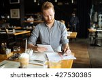 businessman taking notes and... | Shutterstock . vector #427530385
