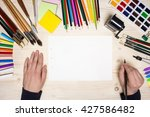 top view of artist's hands with ... | Shutterstock . vector #427586482