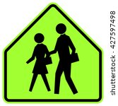 school   green warning sign... | Shutterstock .eps vector #427597498