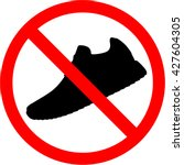 shoes icon. red prohibition... | Shutterstock .eps vector #427604305