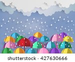 origami made colorful umbrella... | Shutterstock .eps vector #427630666