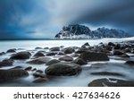 Rocky Shore Of Uttakleiv Beach...