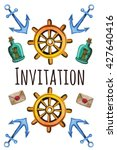 watercolor invitation in pirate ... | Shutterstock . vector #427640416