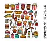 set with fast food hand drawn... | Shutterstock .eps vector #427642432