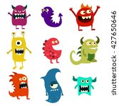 doodle monsters set. colorful... | Shutterstock . vector #427650646