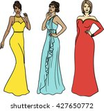 set of three beautiful models... | Shutterstock .eps vector #427650772