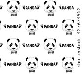 funny panda head pattern | Shutterstock .eps vector #427674952