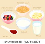 strawberry oatmeal smoothie... | Shutterstock .eps vector #427693075
