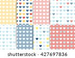 set of heart seamless patterns. ...
