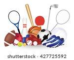group of sport equipment