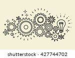 abstract black connected cogs ... | Shutterstock .eps vector #427744702
