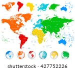 detailed vector world map with... | Shutterstock .eps vector #427752226