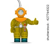 a man in an old diving suit.... | Shutterstock .eps vector #427764322