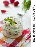 radish salad with cucumber ...   Shutterstock . vector #427780576