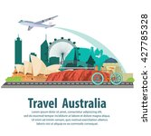 travel the world by plane... | Shutterstock .eps vector #427785328