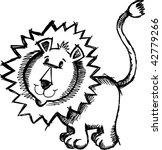 doodle sketchy lion vector...