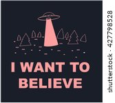 poster of ufo in the forest  ...   Shutterstock .eps vector #427798528