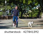 Stock photo elderly man with crutch walking his dogs summer sunny 427841392