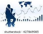 businessman sitting in office... | Shutterstock .eps vector #427869085