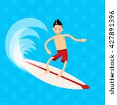 cool vector surfer character in ... | Shutterstock .eps vector #427891396