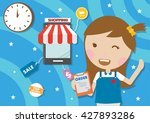 young lady in counter service... | Shutterstock .eps vector #427893286