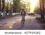 Girl On Bike Sunset Summer Sun