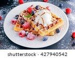 belgian waffles with ice cream  ...   Shutterstock . vector #427940542