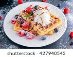 Belgian Waffles With Ice Cream...