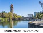 watch tower in riverfront park... | Shutterstock . vector #427974892